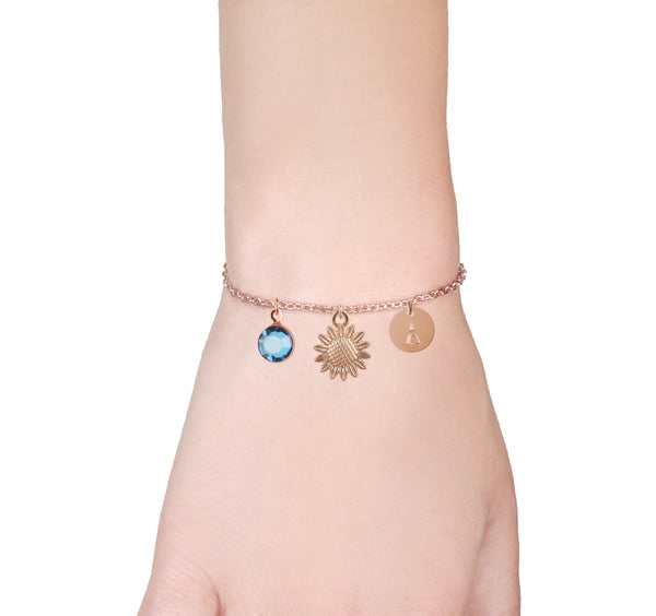 Sunflower rose gold bracelet with birthstone and initial - sunflower jewellery - Statement Made Jewellery