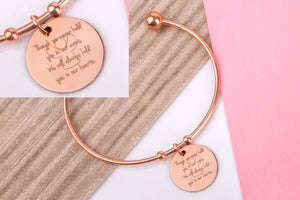 though we never held you in our arms we will always hold you in our hearts, rose gold engraved message personalised Bangle - Statement Made Jewellery