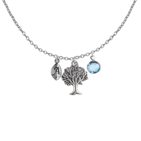 Personalised tree charm and round initial with birthstone necklace - Statement Made Jewellery