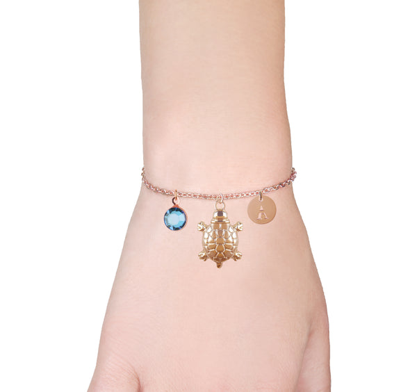 Turtle rose gold bracelet with birthstone and initial - turtle jewellery - Statement Made Jewellery