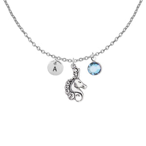 Unicorn silver necklaces with birthstone and initial - unicorn jewellery | Statement Made Jewellery - Statement Made Jewellery