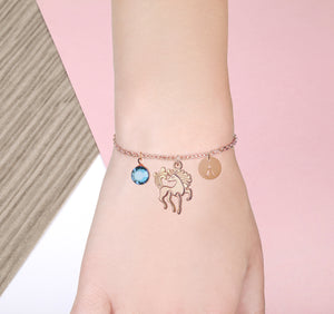 Rose Gold unicorn bracelet with birthstone and initial - unicorn jewelry | Statement Made Jewellery - Statement Made Jewellery