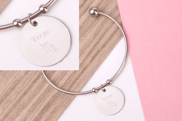Virgo Stainless steel engraved message personalised Bangle - Statement Made Jewellery