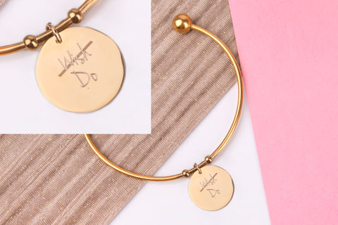 Wish do inspirational gold engraved message personalised Bangle - Statement Made Jewellery
