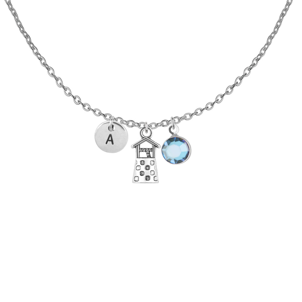 Wishing well silver necklace with birthstone and initial - wishing well jewellery | Statement Made Jewellery - Statement Made Jewellery