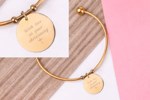 Christening gift inspirational gold engraved message personalised Bangle - Statement Made Jewellery