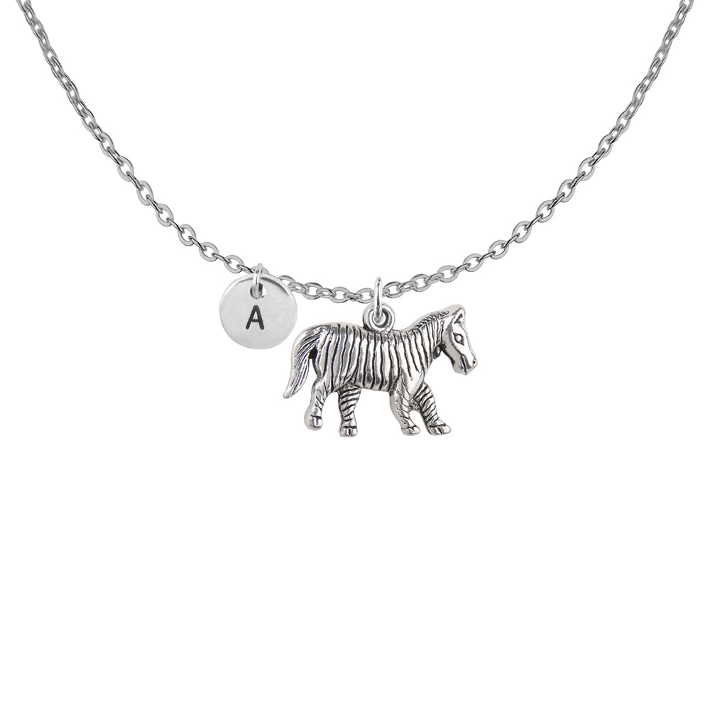 Personalised zebra charm with initial handmade customised necklace - Statement Made Jewellery