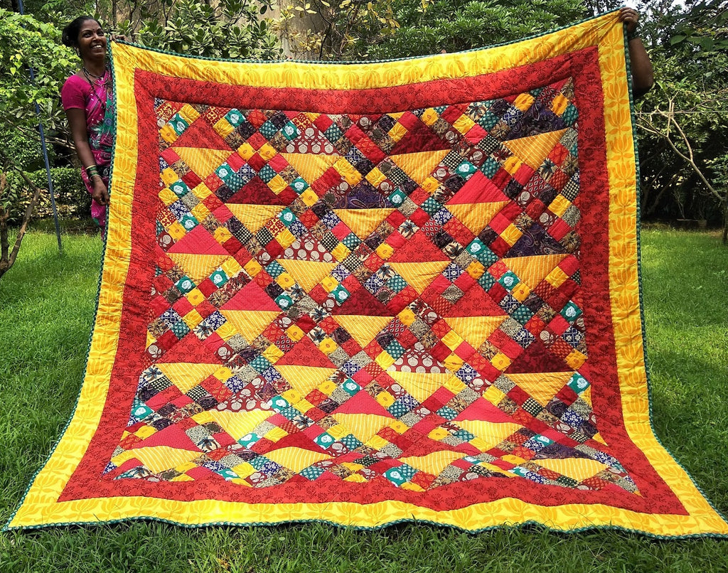 Sunset Colors Basket Design Queen Quilt