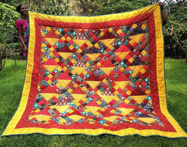 Quilt Made to Order:   Sunset Colors Basket Design
