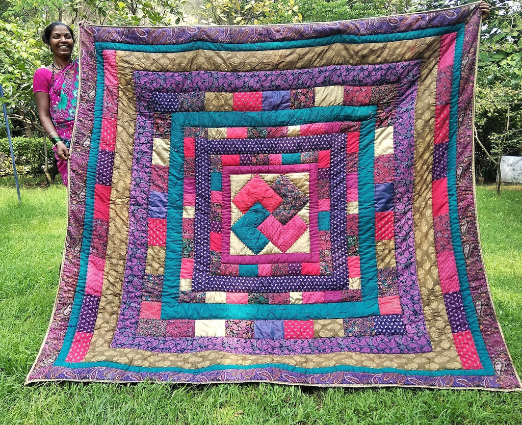 Rose and Turquoise Window of the Soul Queen Quilt