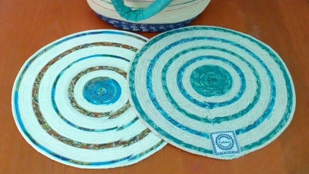 "Colorful Placemat & Matching Coaster ""TEA CUP"" Colors Hand made with Indian Cotton Fibers"