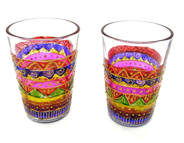 Hand painted Glass Tea Light holders with candle set of 2, Handmade in bright colors for festive season, diwali diya home decor lights