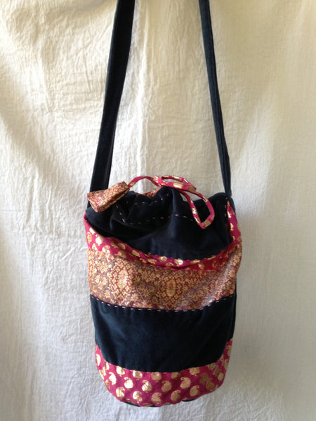 Shoulder Bag: Bucket Bag with a string to draw Designed by Tulsi in Indian saree