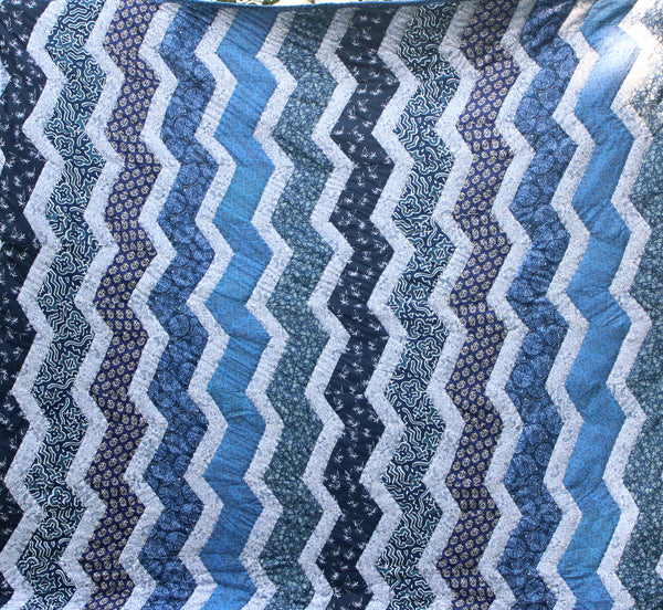 Quilt Made to Order:  LIGHTNING in Indigo  based on Kaffe Fasset design