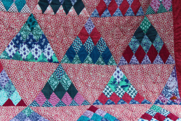 Quilt Made to Order:  Triangle Design Quilt from Kaffee Fasset in Forest Green, Ruby Red, Purple