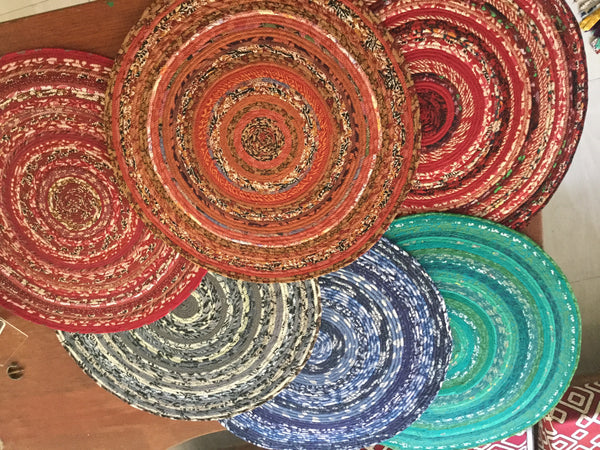 "Rugs or Table Mats... Circular 20"" and 30"" One of a Kind, your choice of color"