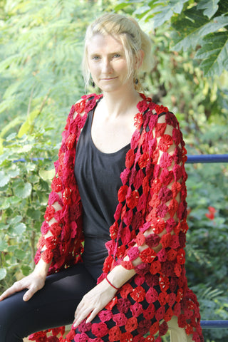 KIMONO JACKET Elegant Artwear made of hand sewn flower yo yo's