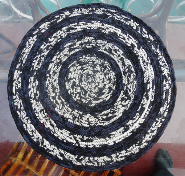 Special Sale : Pair of Placemat Black and White,  Hand made with jute fiber & Upcycled Cotton Indian Fabric