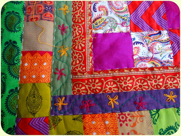 Quilt Made to Order:  Four Squares of Delightful Colors -- Patchwork  Quilt with Floral Embroidery