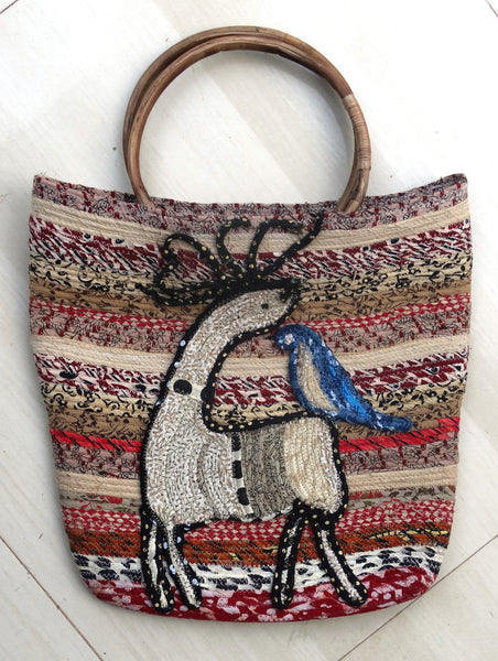 Tote:  Animal Totes Bag Handmade design embroidery on Indian fabric