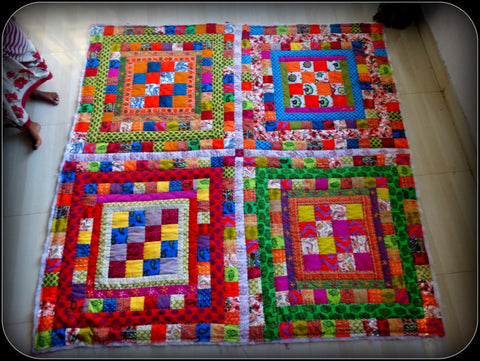 Four Squares of Delightful Colors -- Patchwork Queen Size Quilt with Floral Embroidery