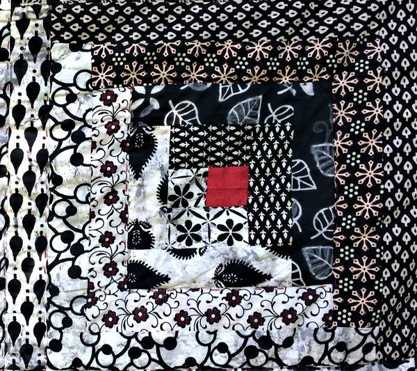 In Stock:  Queen Quilt Log Cabin Design Black White Red