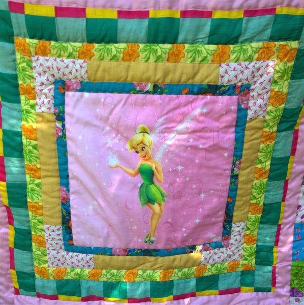 In Stock: Child's Twin Quilt. Tinkerbell, Pink, Yellow, White, Green