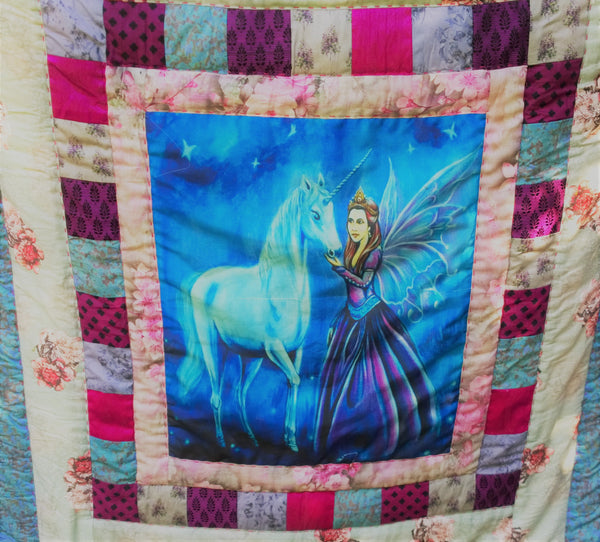 In Stock: Child's Twin Quilt. Fairy Princess and Unicorn, Pink, Blue, White Flower Print, Cotton