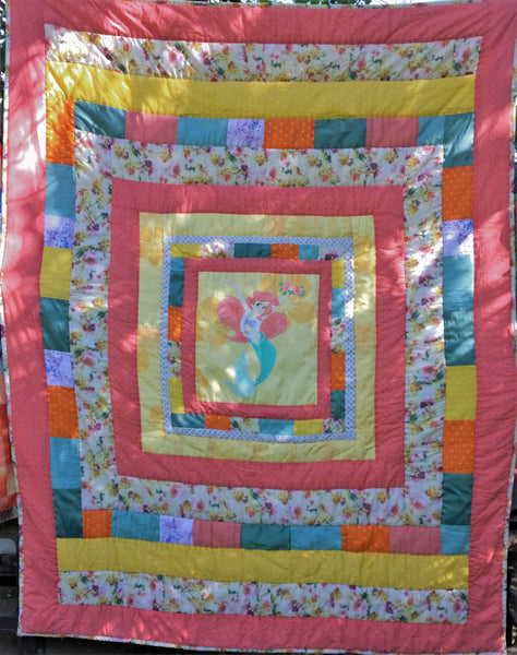 In Stock: Child's Twin Quilt.  Mermaid,  Yellow, Orange, Coral, White, Green