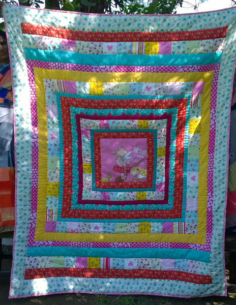 In Stock: Child's Twin Quilt. Fairy,  Red, Yellow, Pink, White, Green