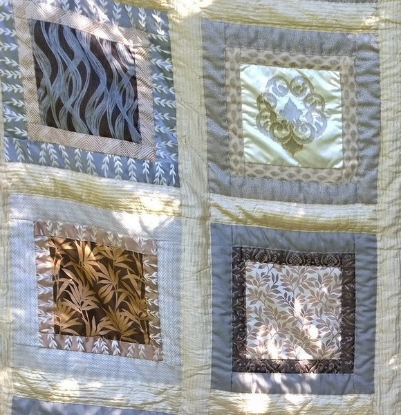 In Stock:  Queen/King Quilt, in shades of Beige, Creme, Gold, Silver, Grey