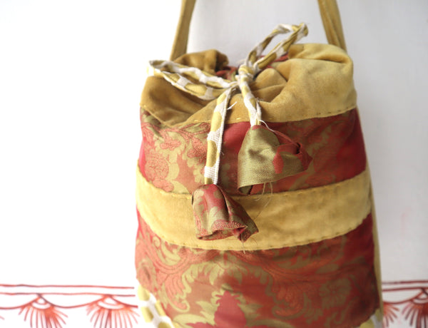 Shoulder Bag: Bucket or Cross body bag made out of Indian saree fabric, drawstring closure