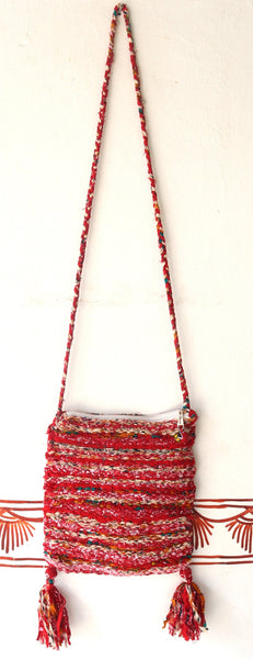 Phone Pouch & Shoulder Bag: Hand woven carrying mobile phones, & wallet colorful tassels, Small, Medium