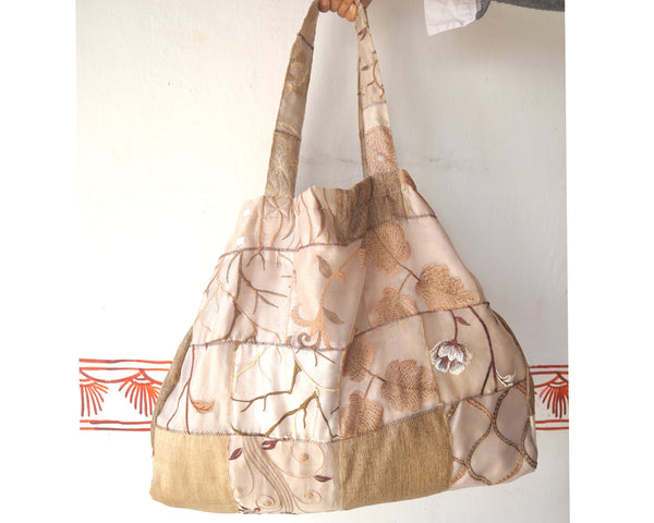 Multipurpose Bag:  Shopping, Sports, Yoga.  Over-sized Patchwork, Indian upcycled fabric