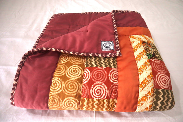 In Stock: Child's Twin Quilt.  Whimsical Lion Twin cinnabar shades Yellow, Bronze, Rust, Mustard, Burnt Orange Handmade cotton patchwork