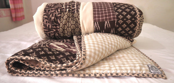 In Stock:  Queen Quilt, Cross pattern, shades of Brown and white, hand quilted, ethnic design handmade padukas product