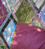 In Stock:  Twin Quilt:  Kaffe Fassett Design, Cathedral Window,  in shades of Teal, Magenta, Olive Green