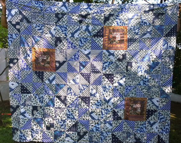 In Stock:  Queen Quilt Patchwork Center,  Blue and White with Brown Log Cabin Square Accents