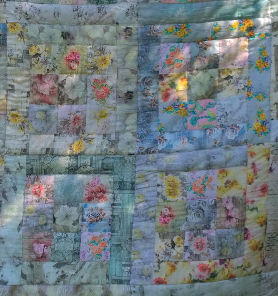 In Stock:  Twin Quilt Patchwork Magical Square Design, Pastels