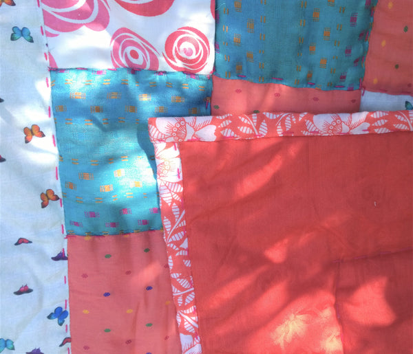 In Stock: Baby / Lap Quilt, sky blue, coral red, floral prints