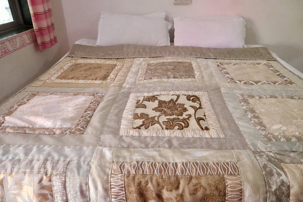 In Stock:  Twin Quilt:  Kaffe Fassett Design in shades of Beige, Creme, Gold, Silver, Grey for Bedroom Classic colors