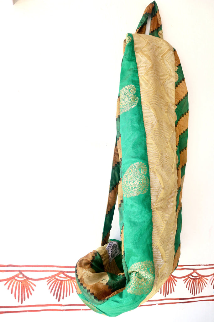 Yoga Mat Bag: Fancy Green , Contemporary Design, Colorful Patchwork, full zip, pocket