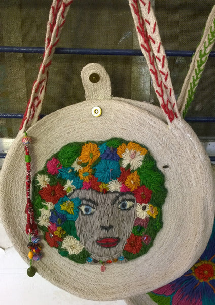 Shoulder Bag:  Design of Goddess & Women of Wisdom, hand embroidery sewn on coiled jute, locking closure