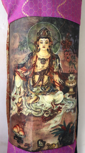 Yoga Mat Bag: Kuan Yin Center, with Fancy Indian Fabric, Contemporary Design, Colorful Patchwork, full side zip, pocket