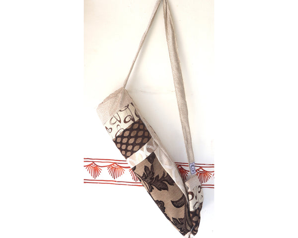 Yoga Mat Bag: Beige Brown, Contemporary Design, Fancy Indian Fabric, full side zip, inside pocket