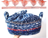 Storage Basket Organizer with a handle and drawstring closure with Indian fabric for home, office, bedroom, toys Small Medium Large