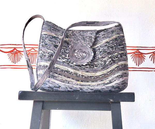 Shoulder Bag:  Contemporary Handbag Grey colour, coiled fabric,  for travelling, office shoulder bag with long shoulder strap and magnetic closure