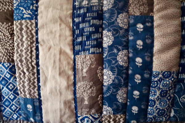 Quilt Made to Order:   Queen Quilt Chloe's  Woven Center & side in shades of Blue, Grey and Creme Handmade patchwork in up cycled Indian fabric Padukas product