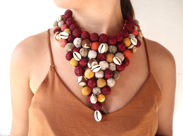 Out of Africa Tribal Necklace Earring Set of Cotton Beads, Cowrie Shells
