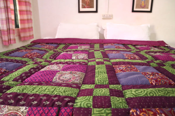 In Stock:  Twin Quilt, Kaffe Fasset Block pattern, shades of Purple, Magenta, Perrywinkle, and Green